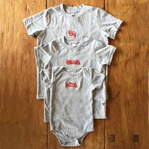 3人姉妹兄弟でお揃い♪ロンパース+Tシャツ3枚組ギフトセット/Little×Middle×Big